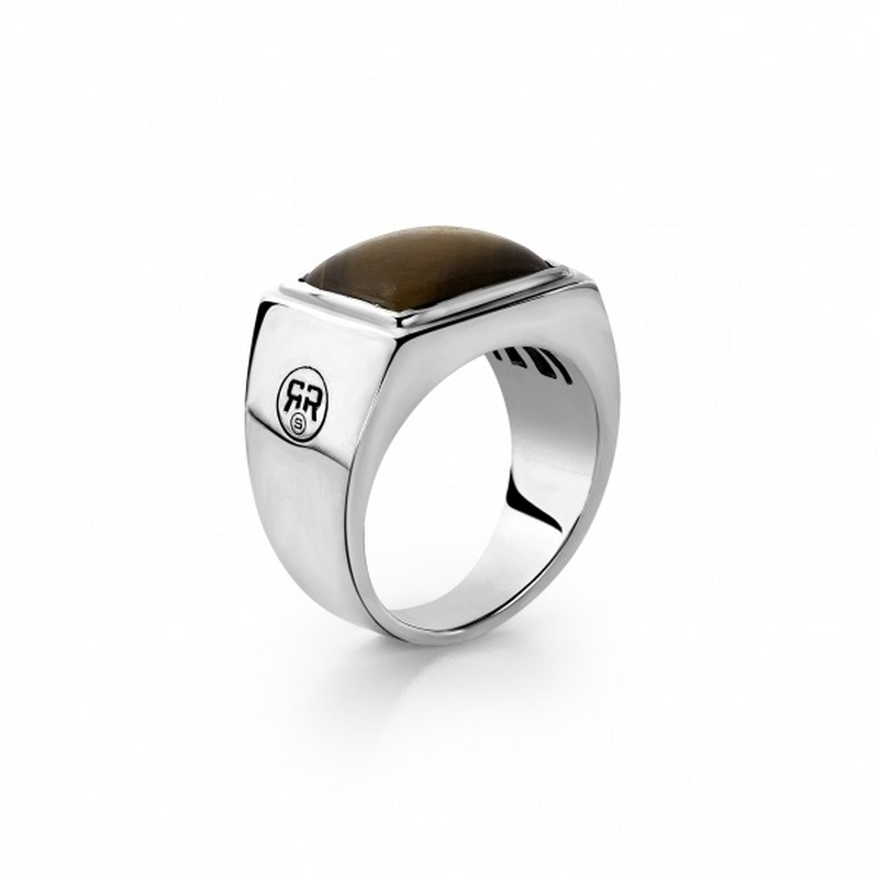 Rebel & Rose Zegel Ring Yellow Tiger Eye Square 20mm